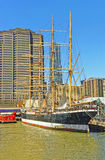 Ship in harbor of South Street Seaport of Lower Manhattan Royalty Free Stock Photos