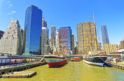 Ship in harbor in South Street Seaport of Manhattan Stock Images