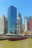 Ship in harbor of South Street Seaport of Manhattan Stock Image