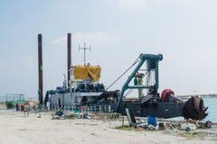 Ship in the harbor at the tropical island Maamigili. In Maldives royalty free stock photos