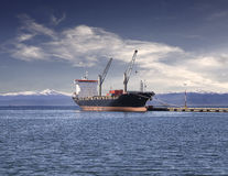 Ship in the harbor of Ushuaia, Argentina. Ushuaia is  described as the southernmost city in the world Stock Images