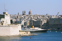 Ship in harbor of Valletta, capital of Malta Stock Photo