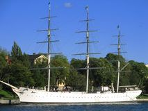 Ship in the harbour. This ship is used as youth hostel Stock Images