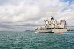 Ship in Hauraki Gulf Stock Photo