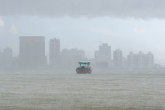 Ship in heavy rain Royalty Free Stock Images