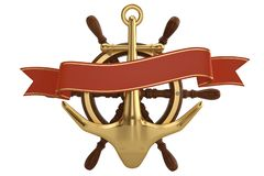 Ship helm and golden anchor isolated on white background 3D illustration.  stock illustration