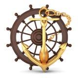 Ship helm and golden anchor Stock Photos