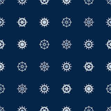 Ship helm seamless pattern. Vector yacht boat navigation blue texture Royalty Free Stock Photography