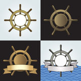 Ship Helm Vector Backgrounds Set. Set of four ship helm vector backgrounds. Shipboard steering wheel with blank banner and space for your text. Vector eps8 Royalty Free Stock Images