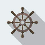 Ship Helm Vector Flat Icon. Ship helm vector icon flat design. Helm, steering wheel icon in flat style with long shadow. Steering wheel flat icon symbol. Ship Stock Photos