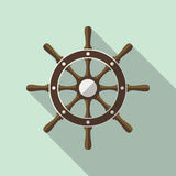 Ship Helm Vector Flat Icon. Ship helm vector icon flat design. Helm, steering wheel icon in flat style with long shadow. Steering wheel flat icon symbol. Ship Stock Image