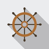 Ship Helm Vector Flat Icon. Ship helm vector icon flat design. Helm, steering wheel icon in flat style with long shadow. Steering wheel flat icon symbol. Ship Stock Photo