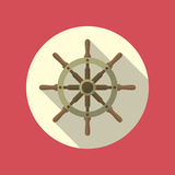 Ship Helm Vector Flat Icon. Ship helm vector icon flat design. Helm, steering wheel icon in flat style with long shadow. Steering wheel flat icon symbol. Ship Stock Images