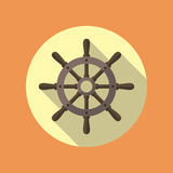 Ship Helm Vector Flat Icon. Ship helm vector icon flat design. Helm, steering wheel icon in flat style with long shadow. Steering wheel flat icon symbol. Ship Royalty Free Stock Image