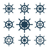 Ship Helm Vector Icons Set. Helm steering wheel icons isolated on white. Steering wheel icon symbols. Collection of 9 ship helm vector silhouettes. Helm Stock Photography