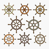Ship Helm Vector Icons Set. Helm steering wheel icons isolated on white. Steering wheel icon symbols. Collection of 8 ship helm vector icons design elements Royalty Free Stock Photo