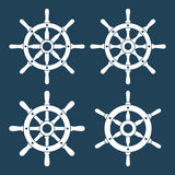 Ship Helm Vector Icons Set. Helm steering wheel icons isolated on white. Steering wheel icon symbols. Collection of 4 ship helm vector silhouettes. Helm Royalty Free Stock Image