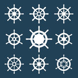 Ship Helm Vector Icons Set. Helm steering wheel icons isolated on white. Steering wheel icon symbols. Collection of 9 ship helm vector silhouettes. Helm Stock Photos