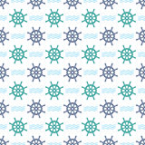 Ship Helm Vector Seamless Pattern. Helm, steering wheel and waves seamless texture. Steering wheel and wave symbols seamless pattern. Ship helm vector Royalty Free Stock Images