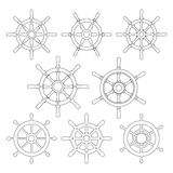Ship Helm Vector Thin Line Icons Set. Ship helm vector icons set. Helm steering wheel thin line icons isolated on white. Steering wheel symbols. Collection of 8 Stock Photos