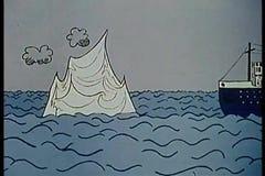 Ship hitting iceberg and sinking