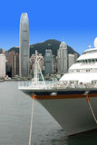 Ship and Hong Kong island Stock Images