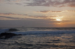 Ship on the Horison at Sunrise, Durban South Afric Royalty Free Stock Photos