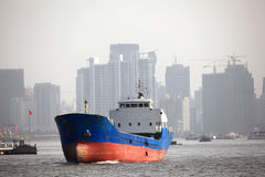 Ship on Huangpu river in Shanghai Stock Photography