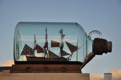 Ship i flaska Arkivbild