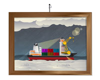 Ship i stormen stock illustrationer