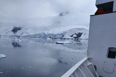 Ship with ice stock photography