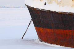 The ship in ice. Winter navigation. Cold winter. Royalty Free Stock Photo