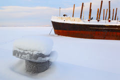 The ship in ice. Winter navigation. Cold winter. Stock Images