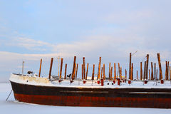 The ship in ice. Winter navigation. Cold winter. Royalty Free Stock Photography