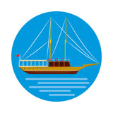 Ship icon in cartoon style. On a white background Royalty Free Stock Photo