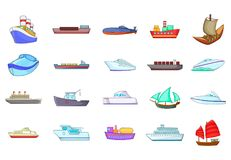 Ship icon set, cartoon style. Ship icon set. Cartoon set of ship vector icons for your web design isolated on white background Royalty Free Stock Photos