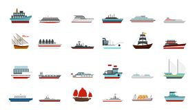 Ship icon set, flat style. Ship icon set. Flat set of ship vector icons for web design isolated on white background Royalty Free Stock Photos