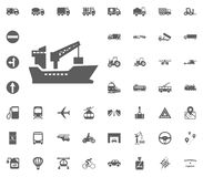 Ship icon. Transport and Logistics set icons. Transportation set icons.  Stock Photos