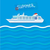 01 Ship. The illustration of cruise ship. Vector image Royalty Free Stock Photo
