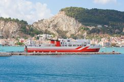 Ship infront city Stock Photo