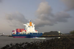Ship with international container carry goods shipping to mercha Royalty Free Stock Image
