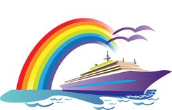 Ship journey. A ship journey with rainbow background very nice and beautiful illustrated image Stock Image