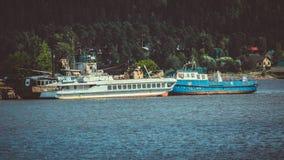 Ship in Karelia. Boat on the lake in Karelia Stock Photo