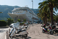 Ship in Kotor Stock Photography