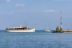 Ship on Lake Balaton stock images
