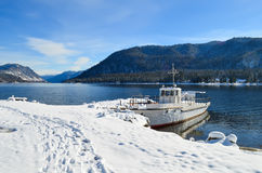 Ship on the lake royalty free stock image