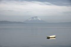 Ship at lake and small Fuji mountain Stock Image