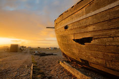 Ship on land. Old ship laying on land royalty free stock photos