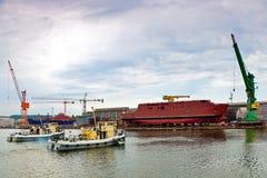 Ship launching Stock Image