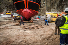 Ship launching process Royalty Free Stock Image